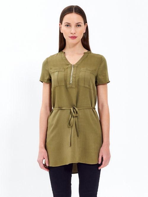 Longline blouse with zipper