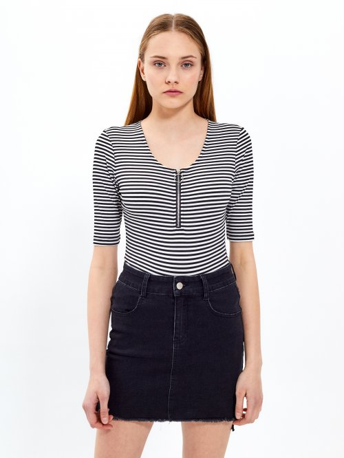 Striped bodysuit with front zipper
