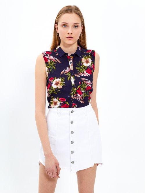4c25152ee9cc Viskózová košile bez rukávů s květinovým potiskem