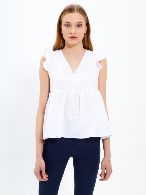V-neck blouse top with ruffles