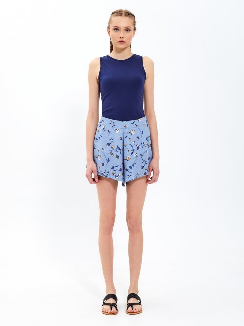 Floral print layered frill shorts