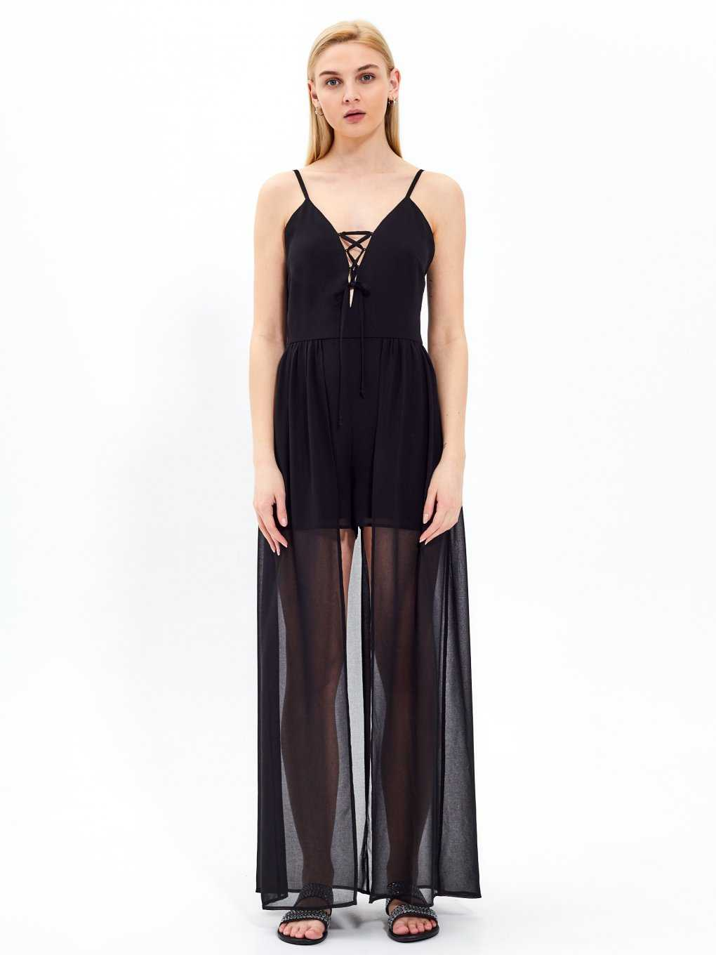 Lace-up jumpsuit with train