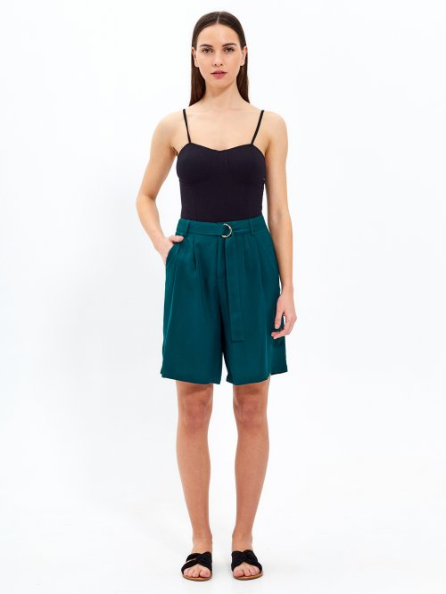 High-waisted belted shorts