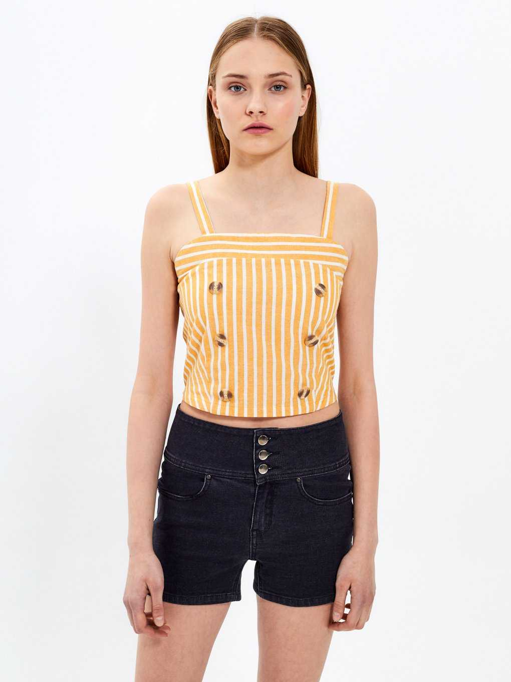 Striped crop top with tortoise shell buttons