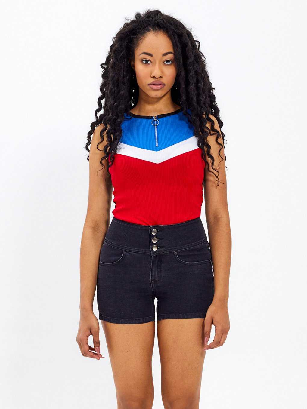 Colour block bodysuit with zipper