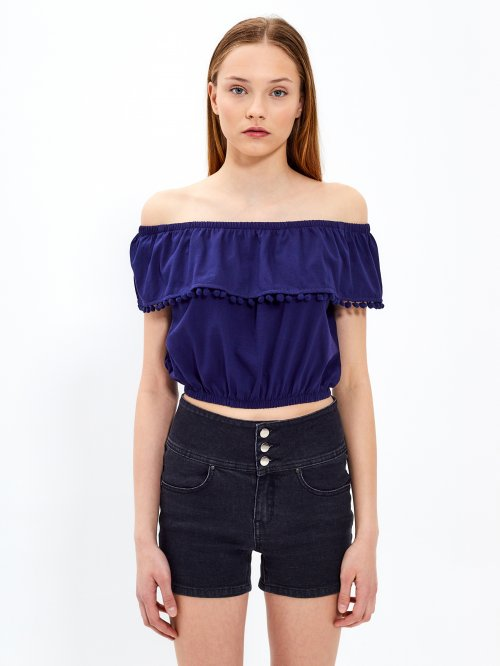 Off-the-shoulder crop top with ruffle