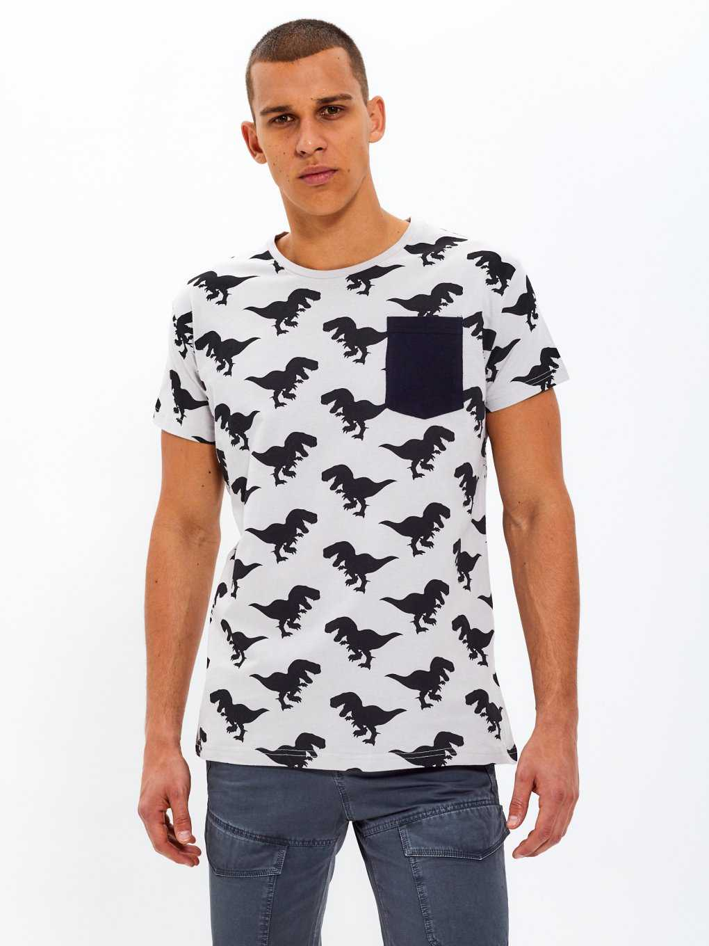 Printed t-shirt with contrast pocket