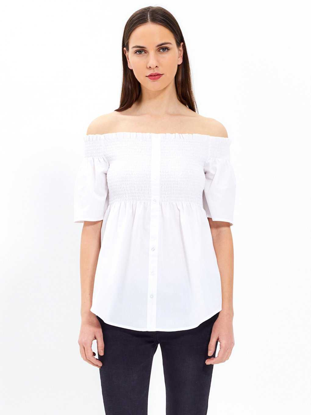 Off-the-shoulder button down top