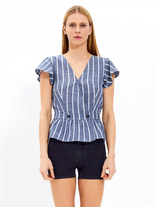 Striped peplum top with buttons
