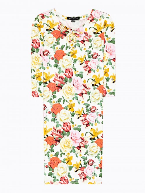 Floral print bodycon dress with front lacing