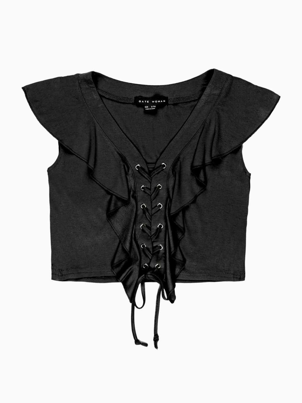 Lace-up crop top with ruffle