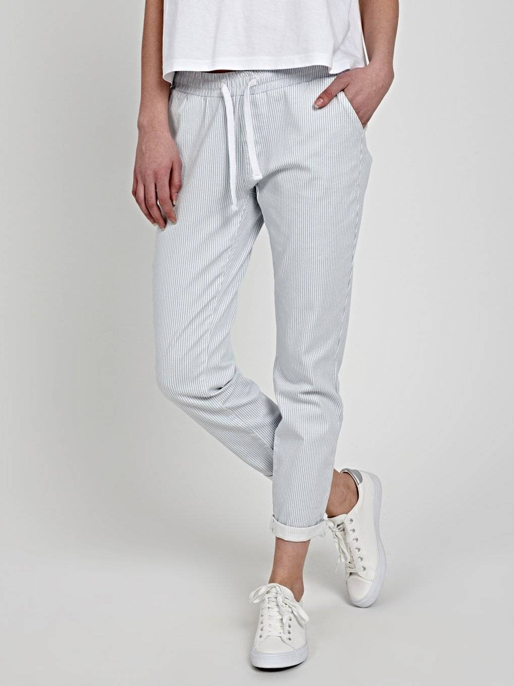 STRIPED STRETCH TROUSERS