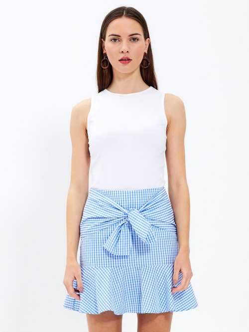 Gingham skirt with ruffle