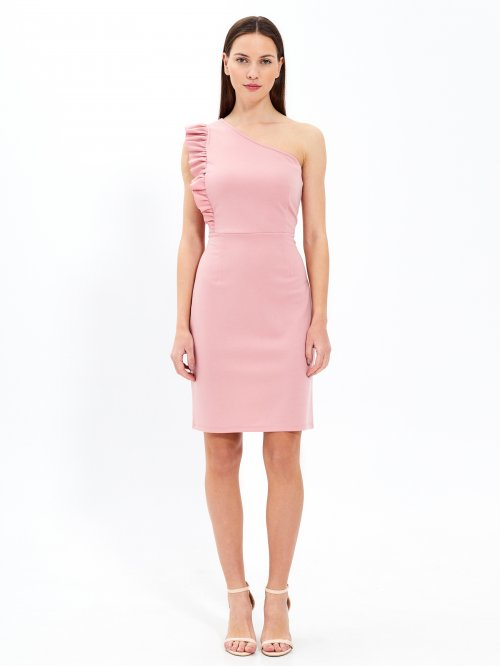 One shoulder bodycon dress with ruffle