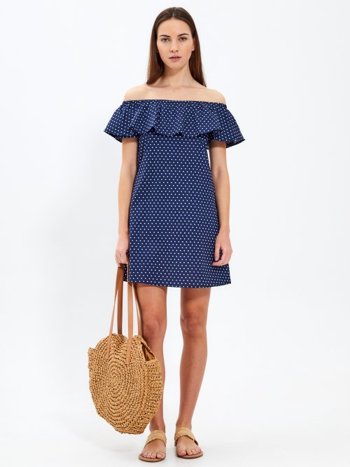 Off-the-shoulder polka dot dress with ruffle
