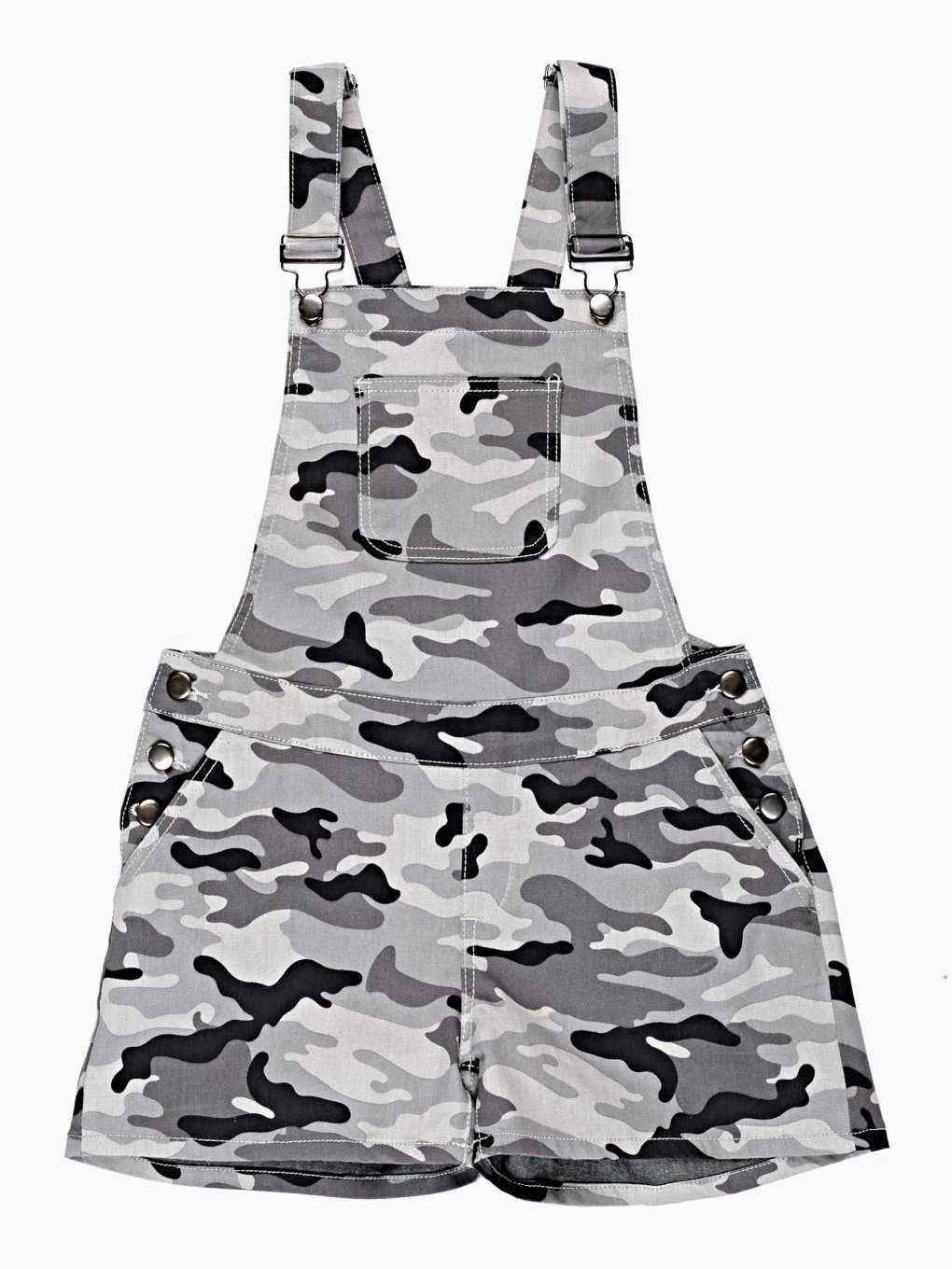 CAMO PRINT DUNGAREE SHORTS