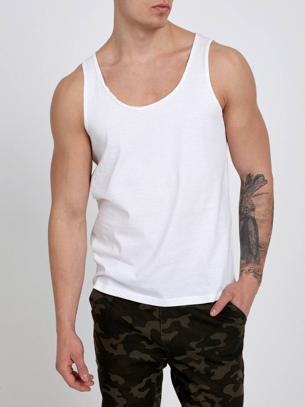 TANK TOP WITH RAW EDGES