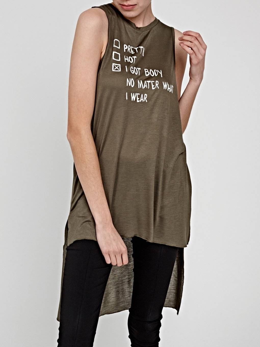 LONGLINE TOP WITH MESSAGE PRINT