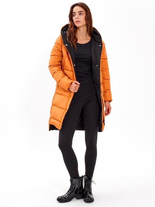 fc4f65741e24d Dlhá vatovaná bunda s kapucňou