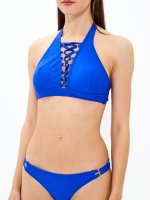 Halter lace-up bikini top