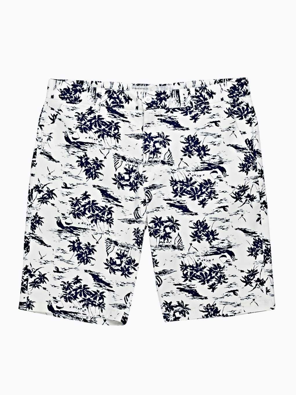 PRINTED COTTON CHINO SHORTS