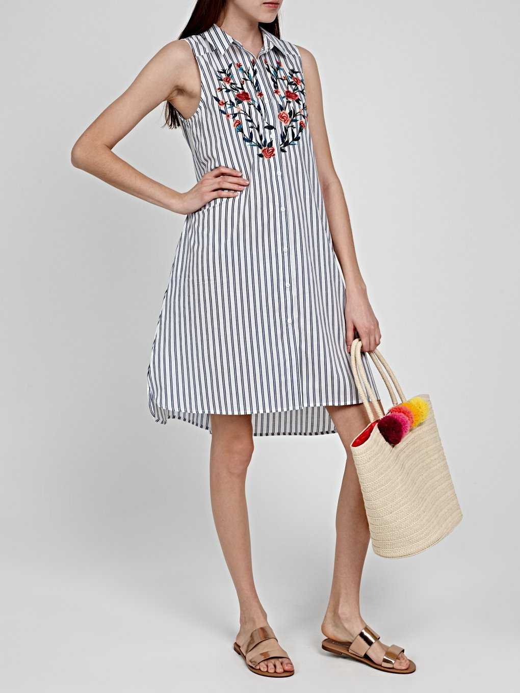 STRIPED SHIRT DRESS WITH EMBROIDERY