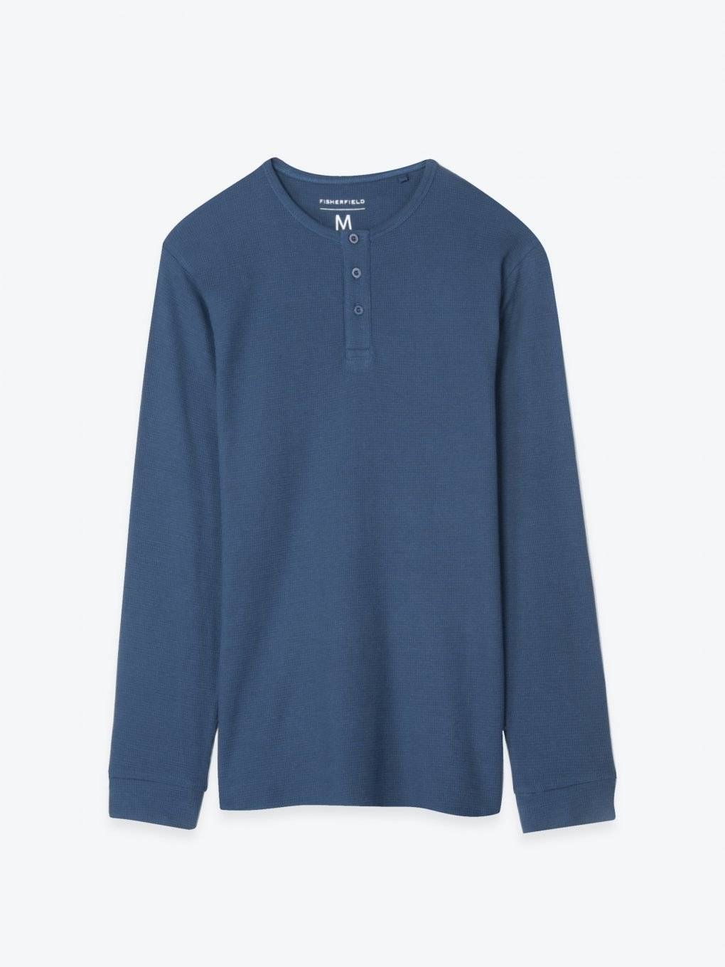 Waffle knit basic long sleeve t-shirt
