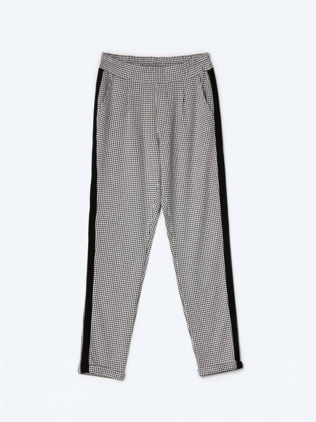 Taped houndstooth carrot fit trousers