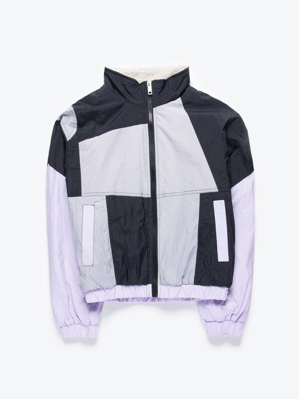 Pile lined color block windbreaker