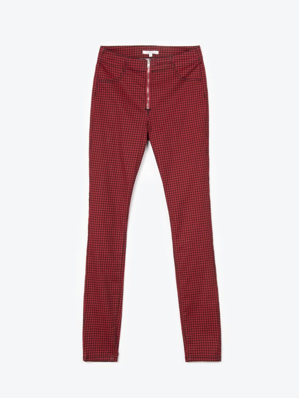 Gingham skinny trousers with zipper