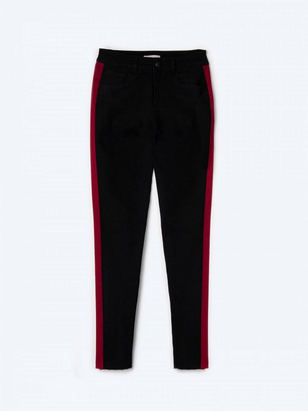 Elastic skinny trousers with contrasting side stripes