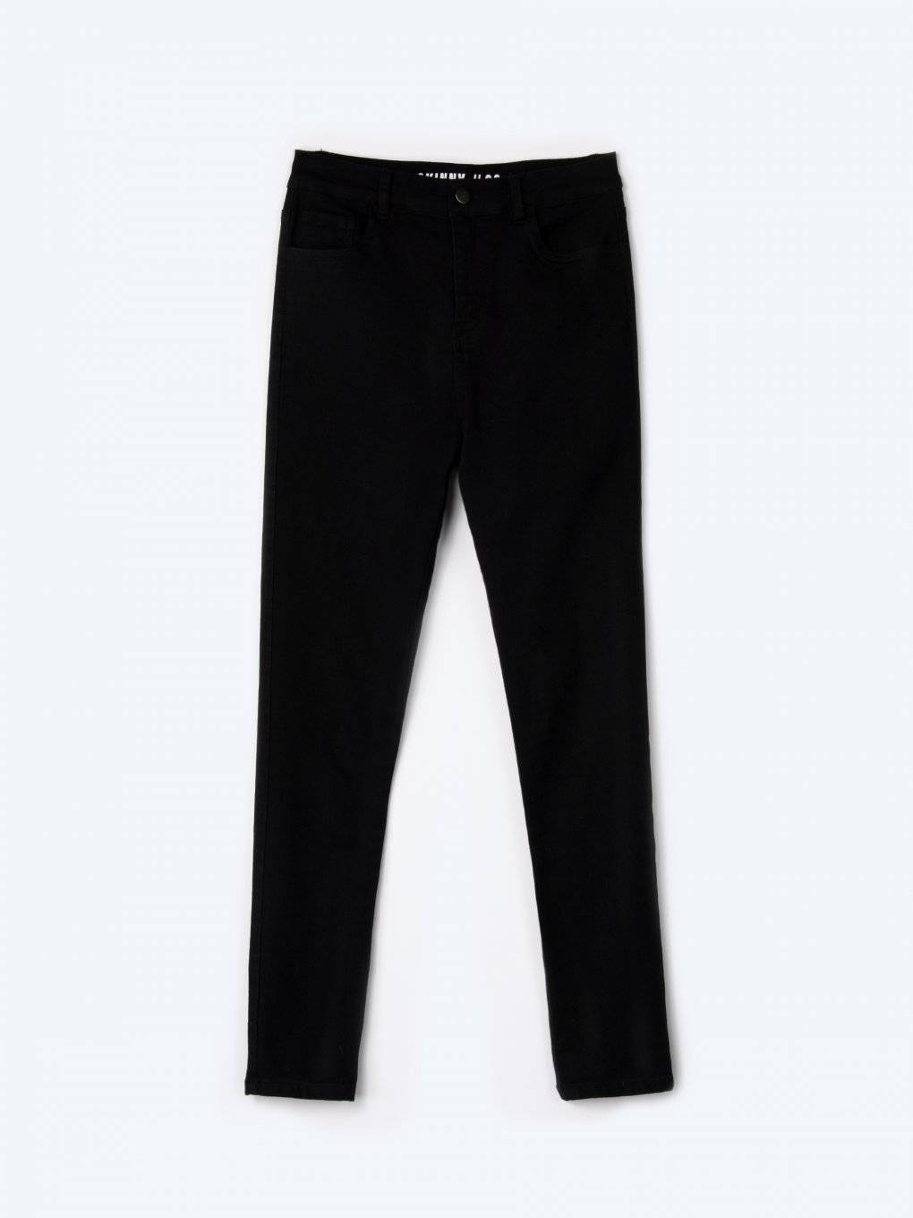 High-waisted elastic skinny trousers