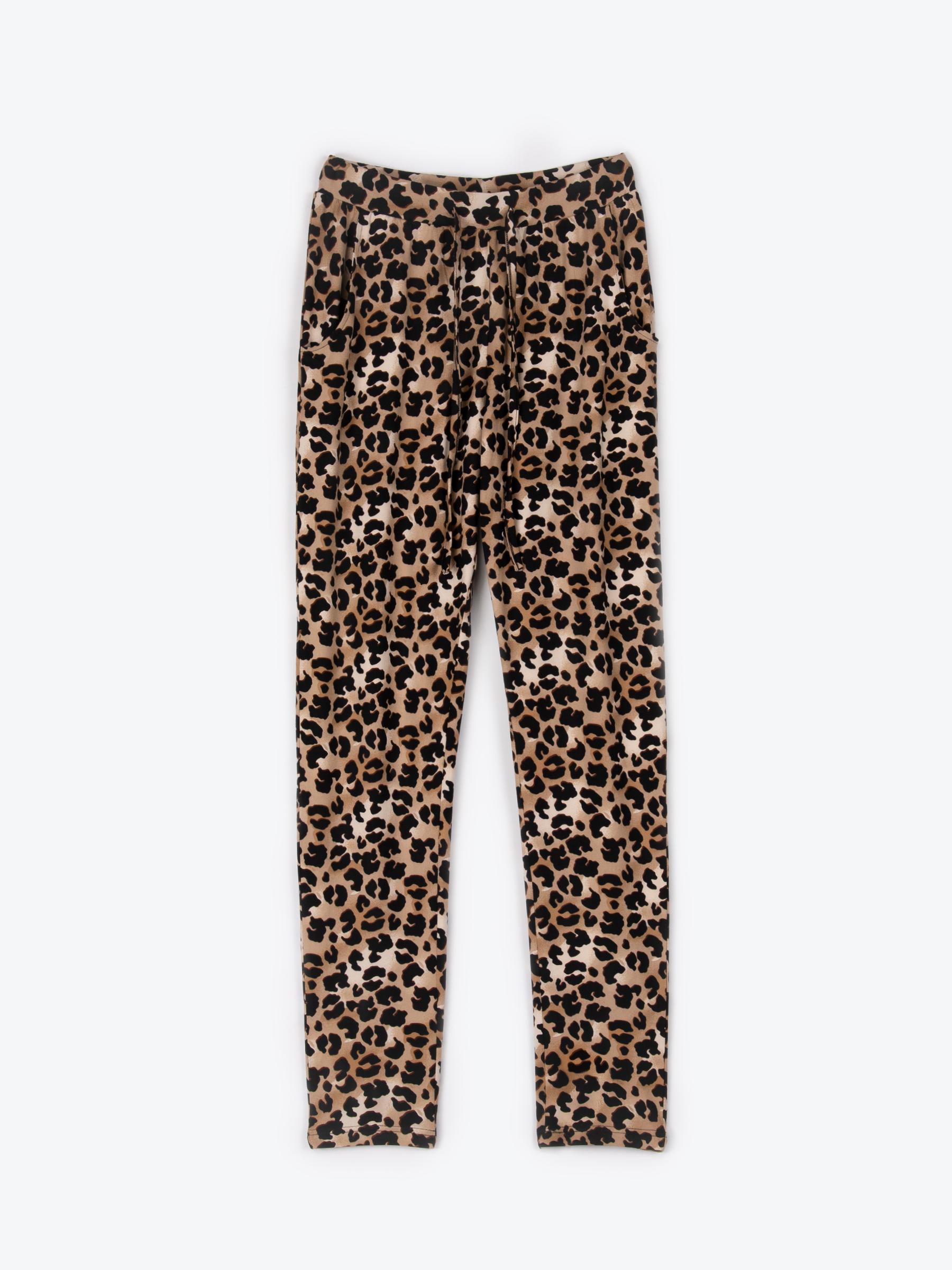 Levně GATE Strečové kalhoty s leopardím potiskem