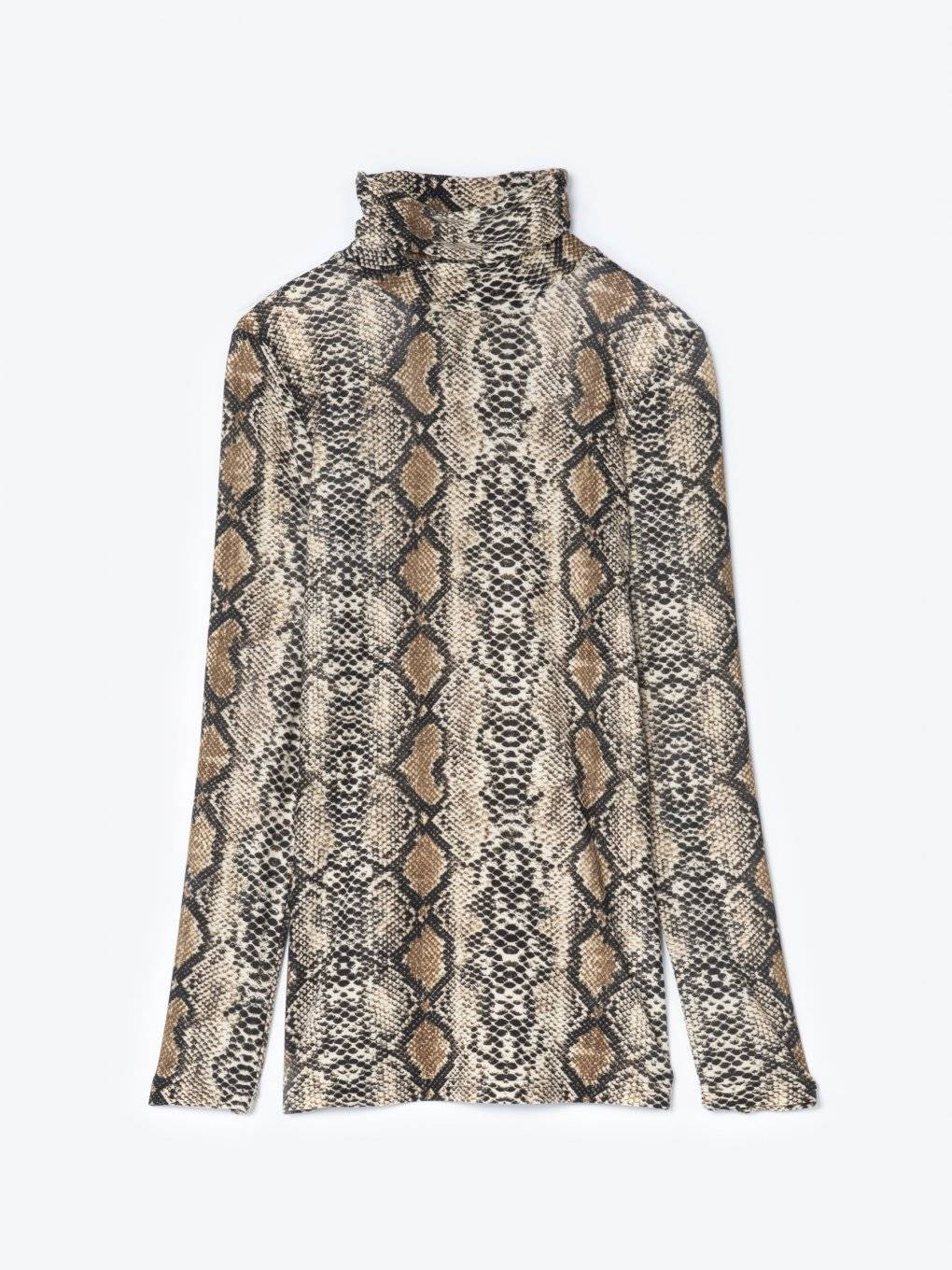 Snake print turtleneck t-shirt
