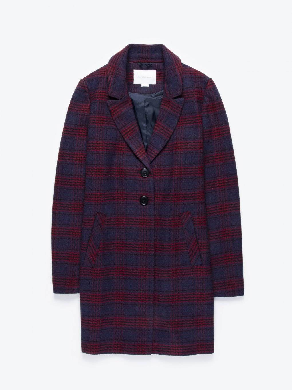 Plaid coat in wool blend