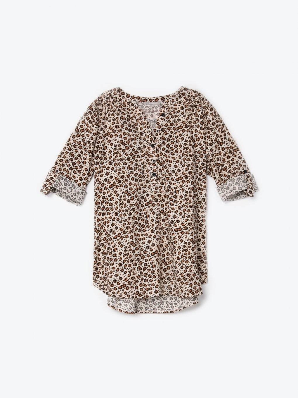 Animal print viscose blouse