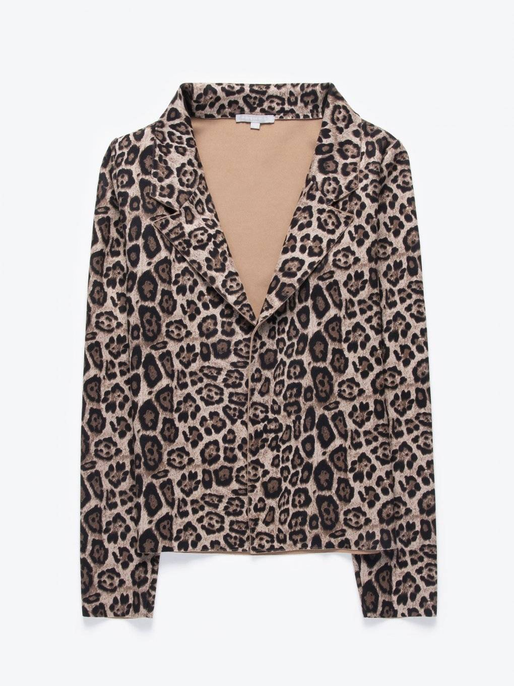 Animal print faux suede blazer