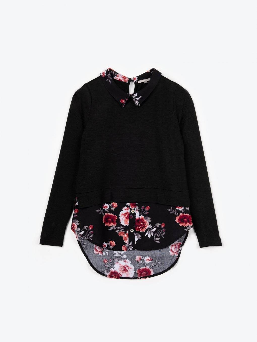Jumper with floral print shirt details