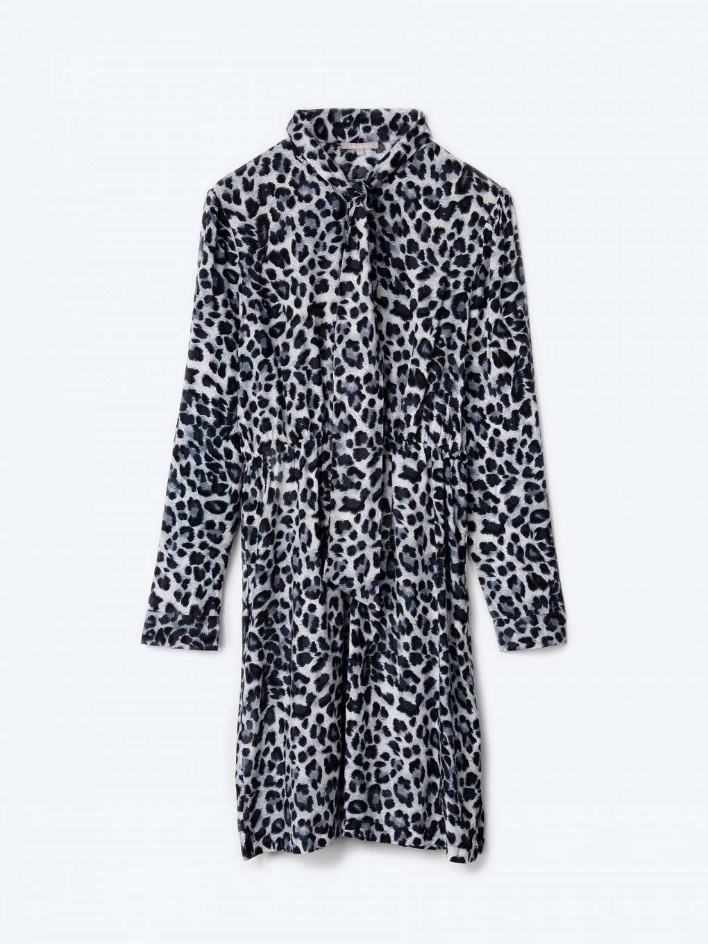 Animal print viscose tie neck dress