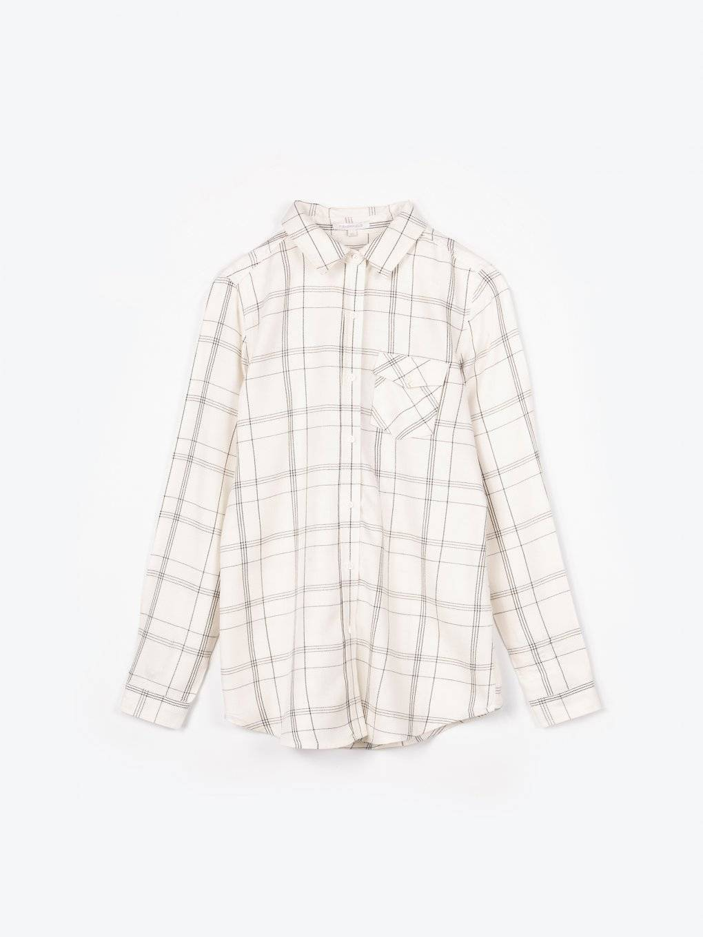 Plaid viscose shirt with message print on back