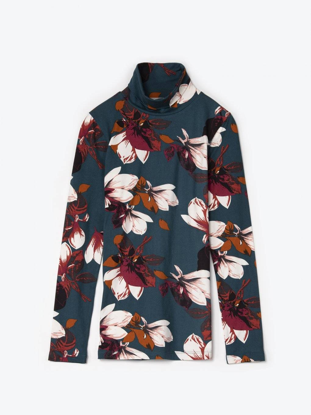 Flower print turtleneck t-shirt