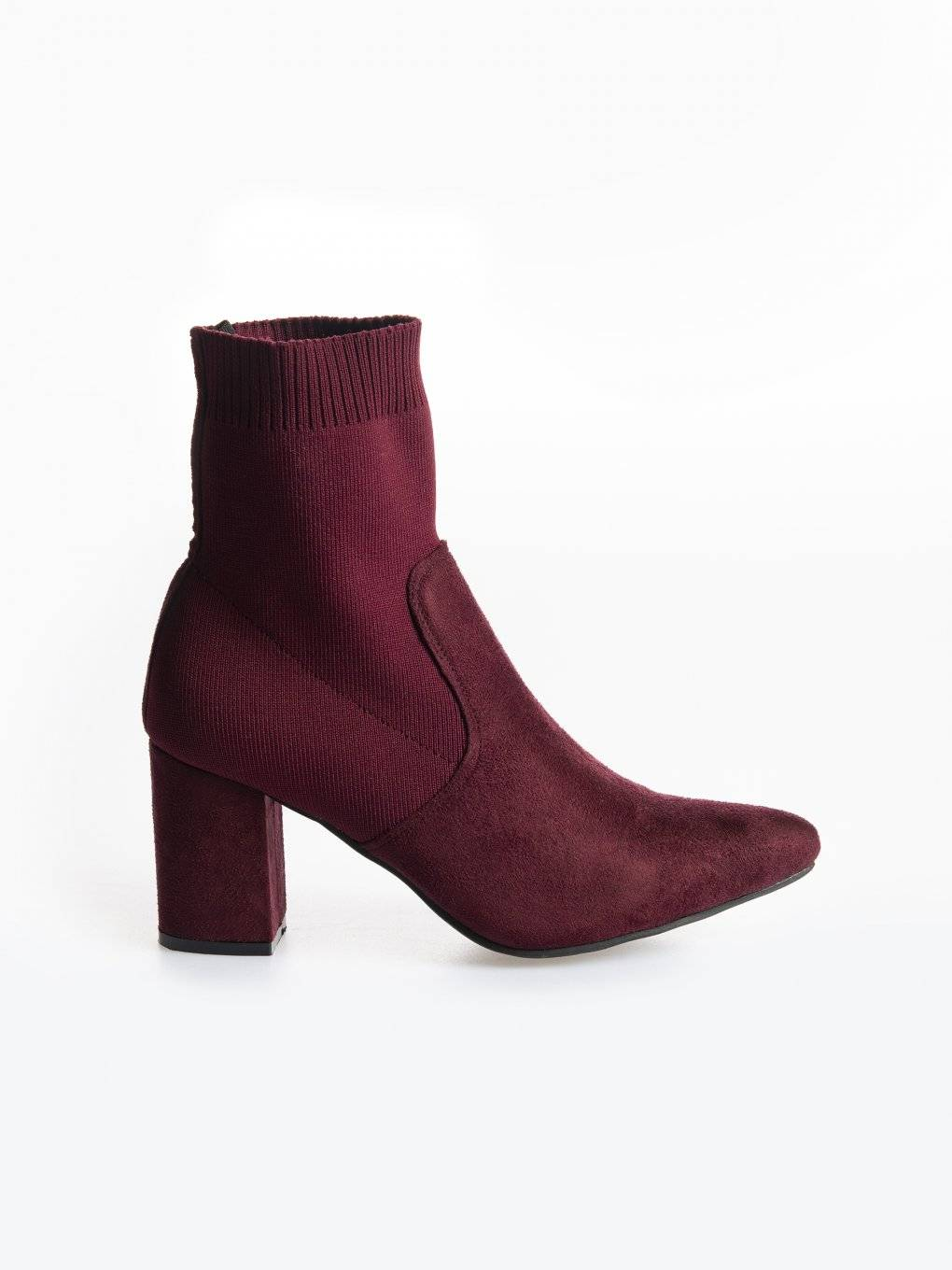 Block heelded sock ankle boots