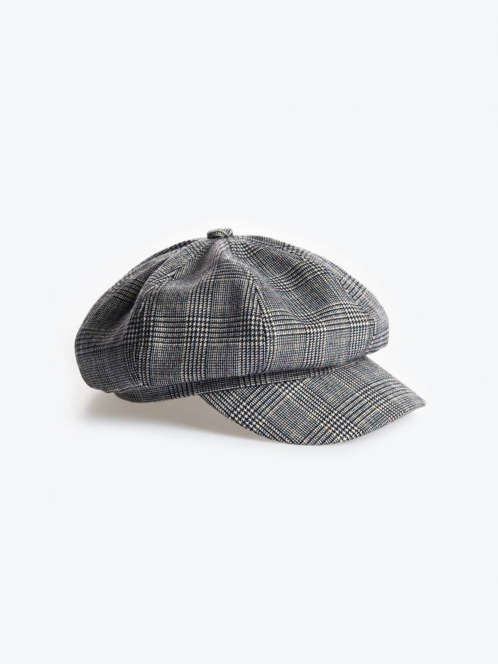 Plaid baker boy cap