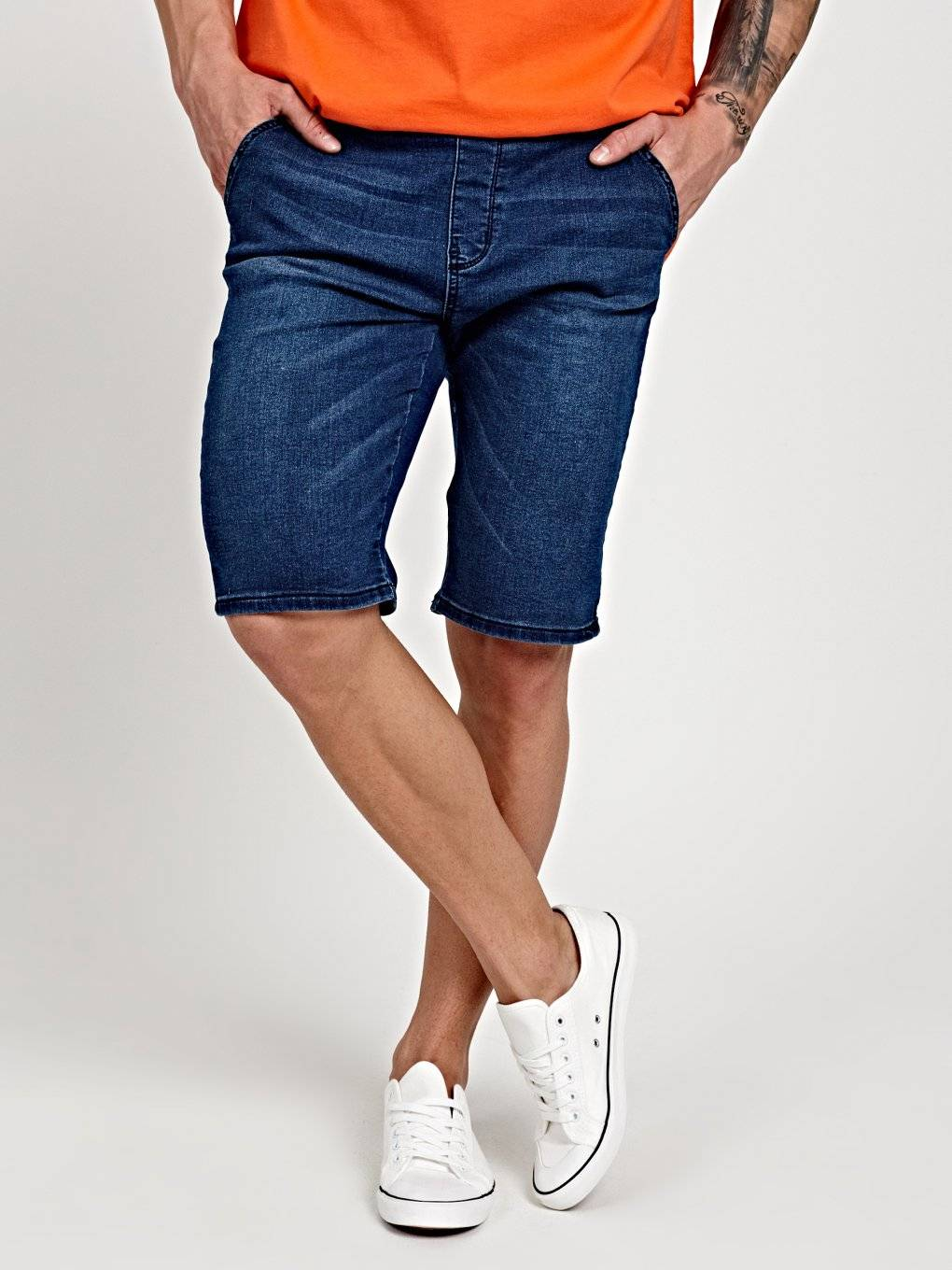 DENIM SHORTS WITH RIB-KNIT WAIST BAND