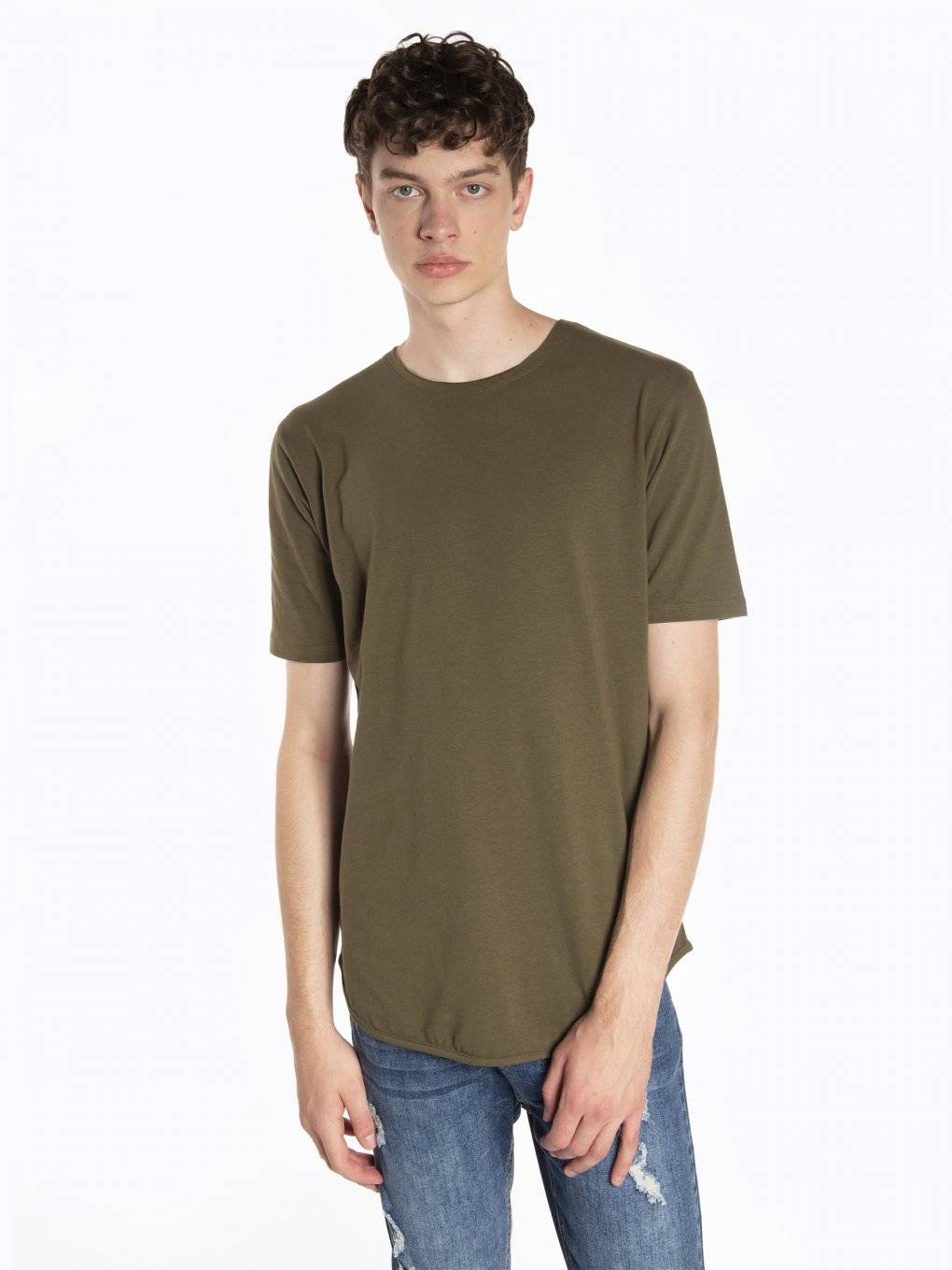 Longline stretch jersey t-shirt