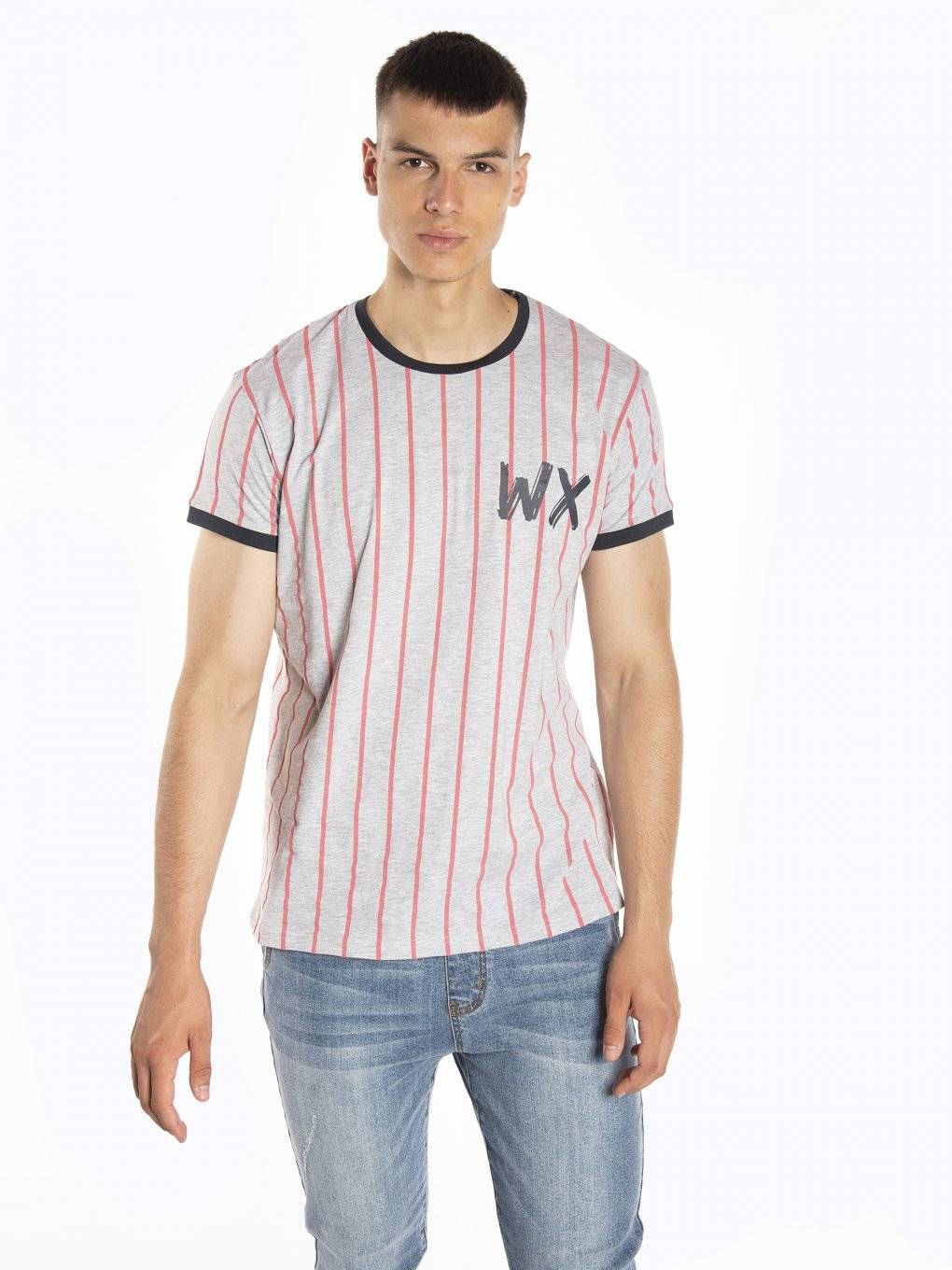 Striped t-shirt with contrast trims