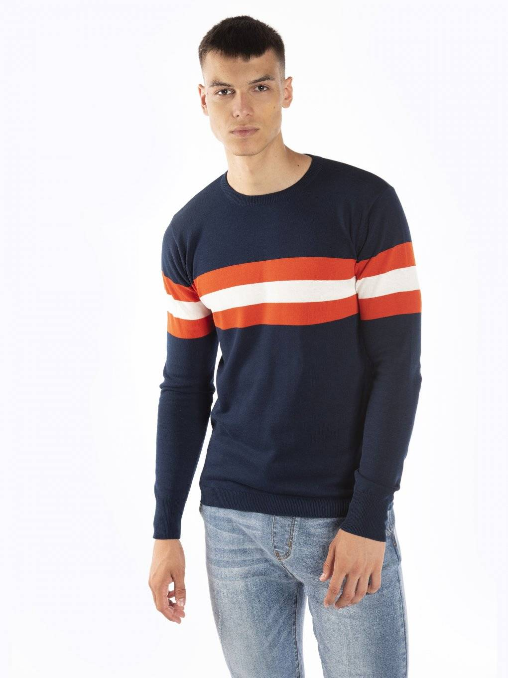 Cotton jumper with stripes