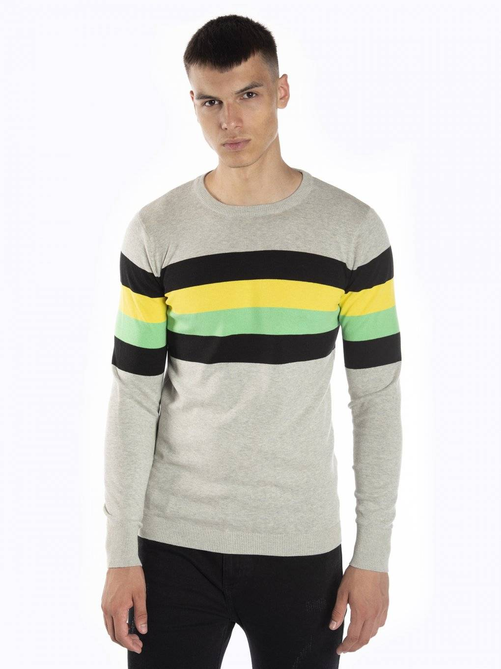 Jumper with colorful stripes
