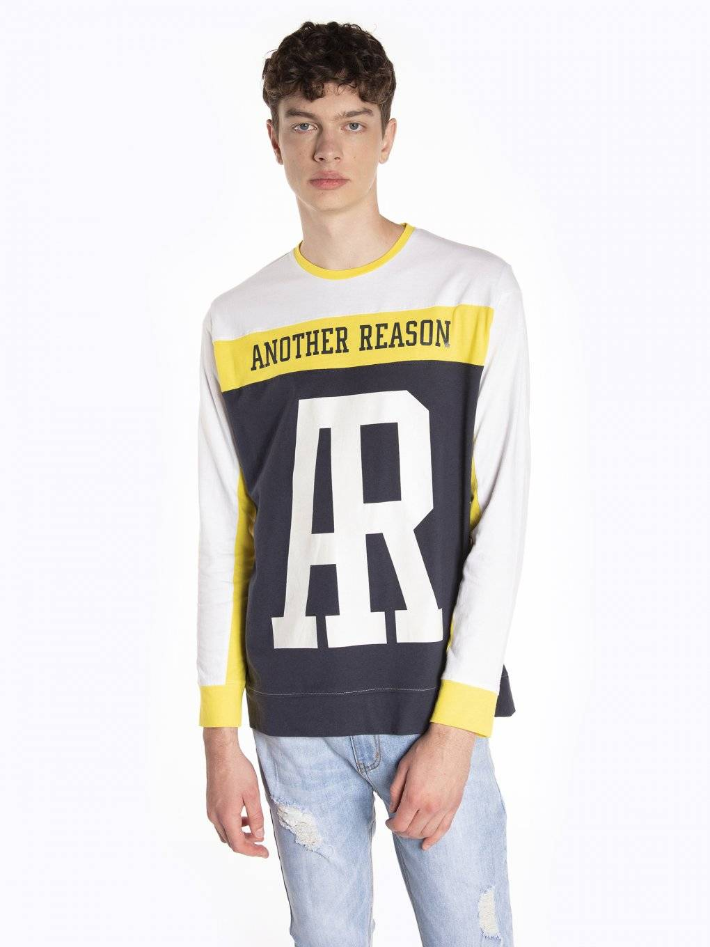 Paneled long sleeve t-shirt with print
