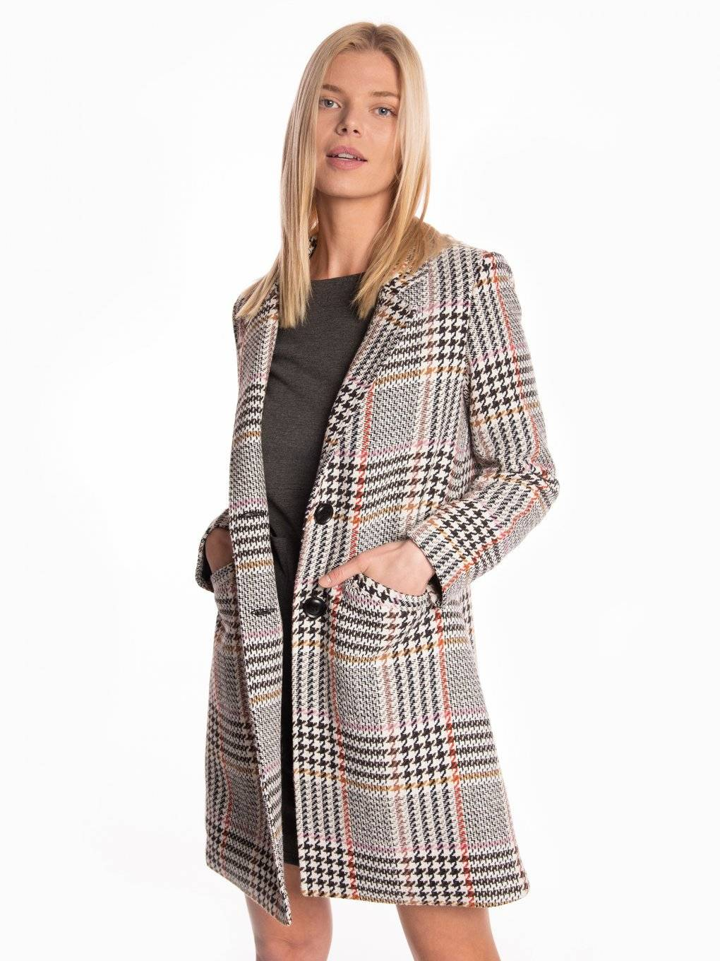 Plaid sinle breasted coat